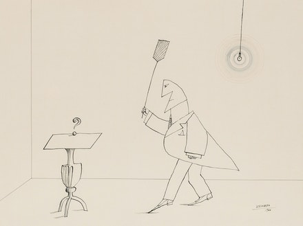 Saul Steinberg, <em>The Killer</em>, 1966. Ink on paper, 19 x 25 inches. Courtesy Totah Gallery.