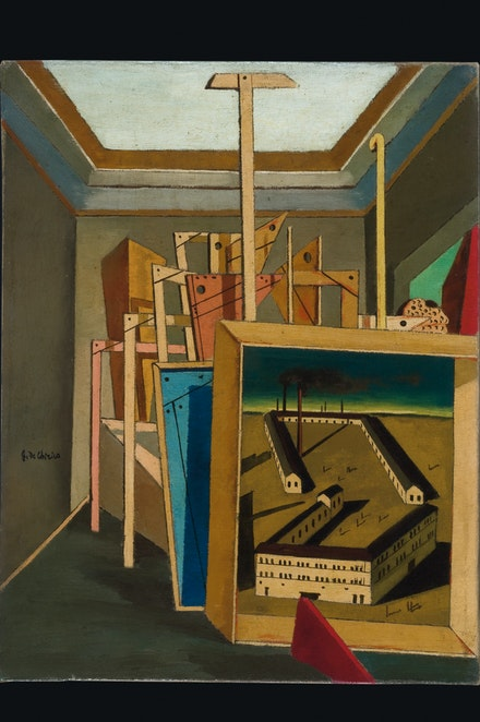 Giorgio de Chirico, <em>Interno metafisico con piccola officina (Metaphysical Interior with Small Factory)</em>, 1917, Oil on canvas, 46 x 36 cm, Fondation Mattioli Rossi, Switzerland © 2019 Artists Rights Society (ARS), New York / SIAE, Rome.