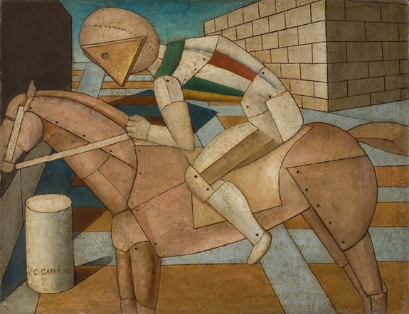 Carlo Carrà, <em>Il cavaliere occidentale (The Western Knight)</em>, 1917, Oil on canvas, 52 x 67 cm, Fondation Mattioli Rossi, Switzerland. © 2018 Artists Rights Society (ARS), New York / SIAE, Rome.