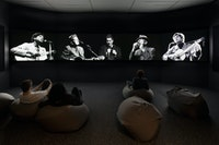 <p>Kara Blake, <em>The Offerings</em>, 2017. Five-channel video installation, black-and-white and color with sound, 35 min. Courtesy the artist. Archival images © Leonard Cohen Family Trust, CBC/Radio-Canada, and Pete Purnell. Photo: © Frederick Charles.</p>