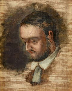 Paul Cézanne, <em>Portrait of Émile Zola</em>, c. 1862 - 64. Oil on canvas, 10 x 8 inches. Collection of the Musée Granet, Aix-en-Provence.</p>