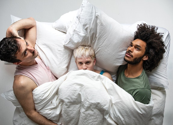 Caption: Left to right: Sean Donovan, Tyler Ashley, and Brandon Washington in Sean Donovan's <em>Cabin</em> at the Bushwick Starr.  Photo: Maria Baranova.