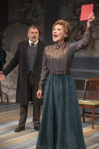 Brian Dykstra and Melinda Parrett in B Street Theatre's production of <em>A Doll's House Pt.2</em>.  Photo: Rudy Meyers Photography.