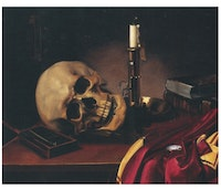 <p>E. Schlüter, <em>Vanitas. Skull with Candle and Watch</em>, 1851. Oil on canvas, 16 1/2 x 21 inches. Courtesy Shepherd Gallery, New York.</p>