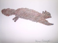 "Merce Cunningham. ""Untitled (squirrel) (5/22/07 #7)"" (2005/06). Black ink and color pencil on paper. 11-7/8 x 9"", 30 x 23 cm. Courtesy of the gallery."