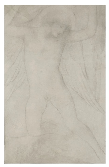 <p>Simeon Solomon, <em>Angel</em>, c. 1888. Graphite on off-white wove paper, 16 1/2 x 10 1/4 inches. Courtesy Shepherd Gallery, New York.</p>