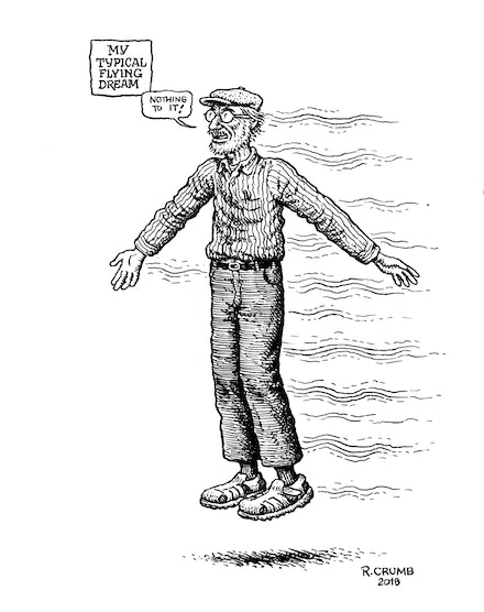 "<p>R. Crumb, ""Lucid Dream of Flying"" (2018). Courtesy of the artist.</p>"
