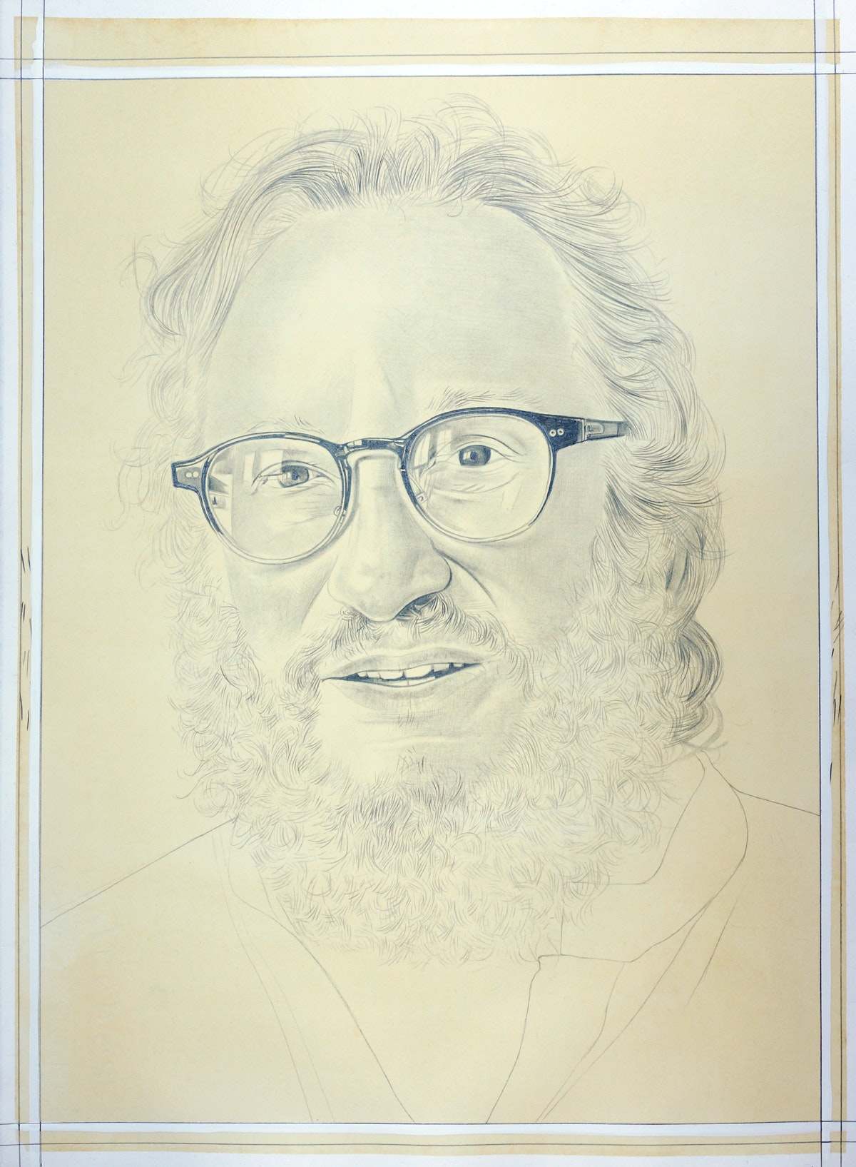 Portrait of Barry Schwabsky, pencil on paper by Phong Bui.