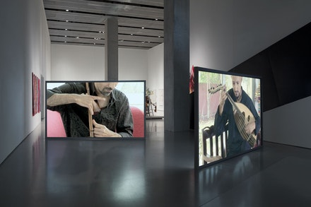 Jane Benson, <em>Finding Baghdad (Part A)</em>, 2015. Dual channel video with audio track (16:31), dimensions variable. Installation view: Contemporary Art Center, Cincinnati. Camera by PA-Studios, Moritz Fink and Natalia Fitis and French Center for Artistic Production, Ali Mercedes and Tamim Fadhi. Courtesy the artist and LMAKgallery. Photo: Steven Probert.