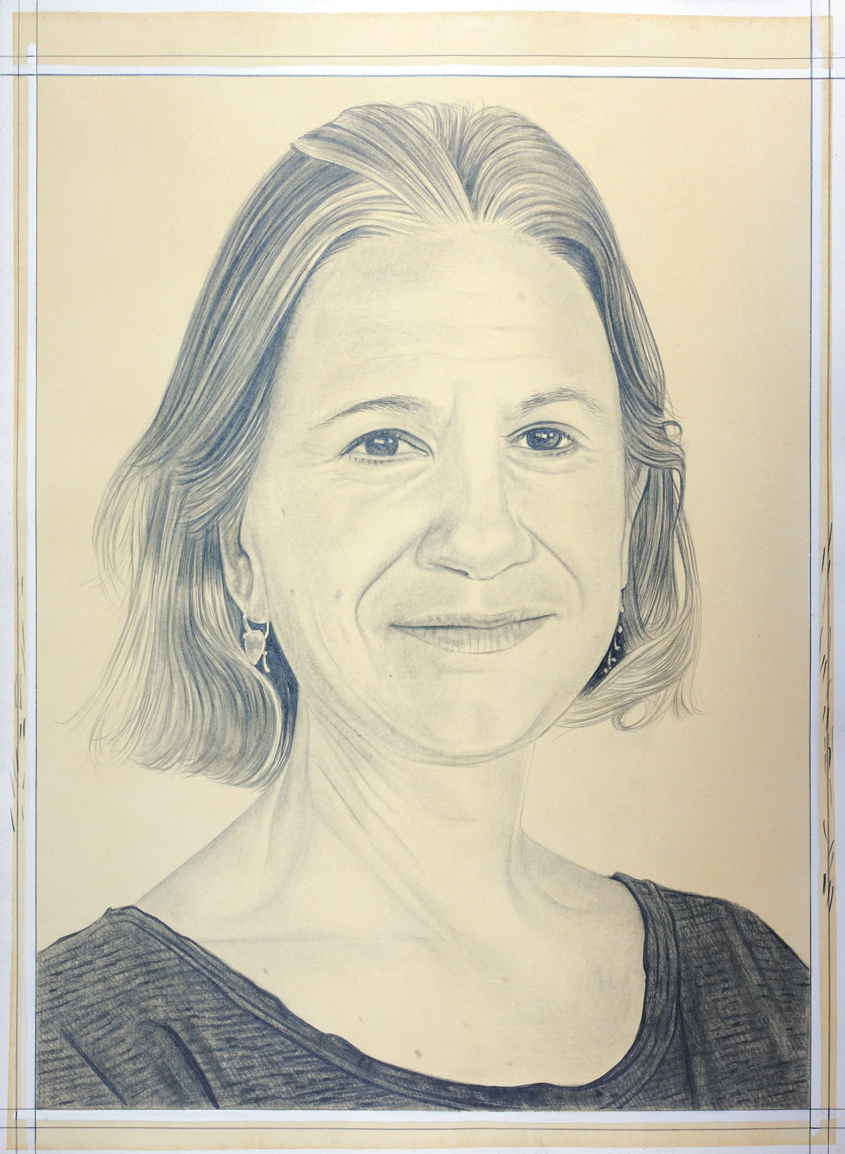 Portrait of Marina Adams, pencil on paper by Phong Bui.