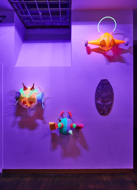 Installation view: <em>Leeroy New: Aliens of Manila: New York Colony</em>, Pintô International, 2019. Courtesy the artist and Pintô International. Photo: Ethan Browning.