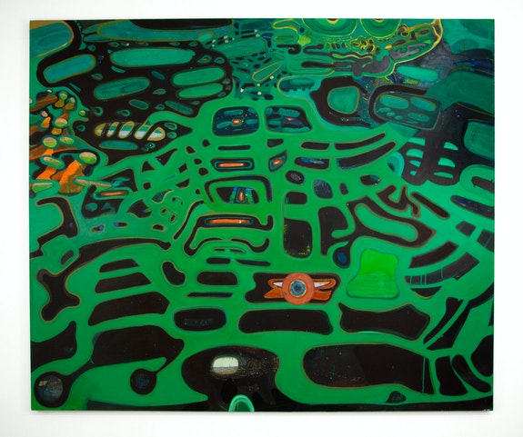 Sharon Horvath, <em>Out There Or In Here</em>, 2019, Pigment, polymer, on canvas, 81 x 96 inches. Courtesy the artist and Pierogi.