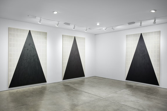 Installation view: <em>Tim Rollins and K.O.S.: Workshop</em>, Lehnann Maupin, New York, 2019.<em> </em>Courtesy the artist and Lehmann Maupin, New York, Hong Kong, and Seoul. Photo: Matthew Herrmann.
