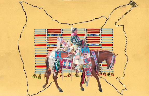 Wendy Red Star, <em>Catalogue Number 1948.102 Parade Rider: Unidentified</em>, 2019. Pigment print on archival paper, 18 x 20 inches. Courtesy the artist and Sargent's Daughters.