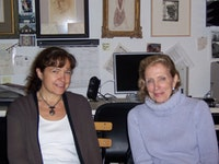 Isabelle Dervaus and Dorothea Rockburne at the <i>Rail's</i> hq. Photo by Phong Bui.