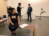 (L to R) Holly Chou, Kenneth Lee, and John D. Haggerty rehearsing for Clubbed Thumb's production of You Never Touched the Dirt. Photo: Zhu Yi.