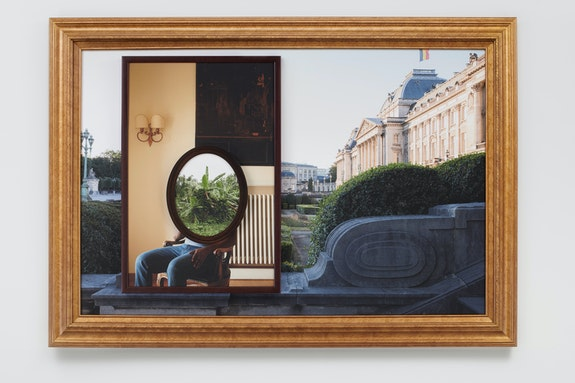 Todd Gray, <em>Onisimo / Leopold</em>, 2019. Three archival pigment prints in artist's frames and found frames, UV laminate, 39 1/4 x 56 x 3 inches. Courtesy the artist and David Lewis, New York.