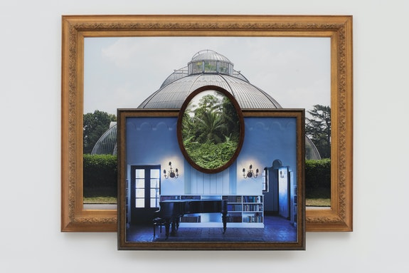 Todd Gray, <em>Palm House Blues</em>, 2019. Three archival pigment prints in artist's frames and found frames, UV laminate, 47 1/4 x 60 x 3 3/4 inches. Courtesy the artist and David Lewis, New York.