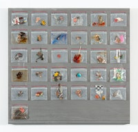 Yuji Agematsu, <em>ziploc: 12.01.95 . . . 12.31.95</em>, 1995. Mixed media in Ziploc bags (31 units), magnets, oil pen, on steel. Ziplocs, 3 3/4 x 4 x 1/2 inches each, steel backing: 29 1/2 x 31 x 1 3/8 inches. Courtesy the artist and Miguel Abreu Gallery, New York. Photo: Stephen Faught.