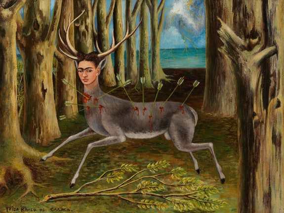 Frida Kahlo, <em>La Venadita (The Little Deer)</em>, 1946. Oil on Masonite. Private Collection. © 2019 Banco de Mexico Diego Rivera Frida Kahlo Museums Trust, Mexico, D.F. / Artists Rights Society (ARS), New York.