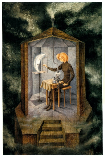 Remedios Varo, <em>Papilla estelar (Celestial Pablum)</em>, 1958. Oil on Masonite. Colección FEMSA. © 2019 Artists Rights Society (ARS), New York / VEGAP, Madrid.