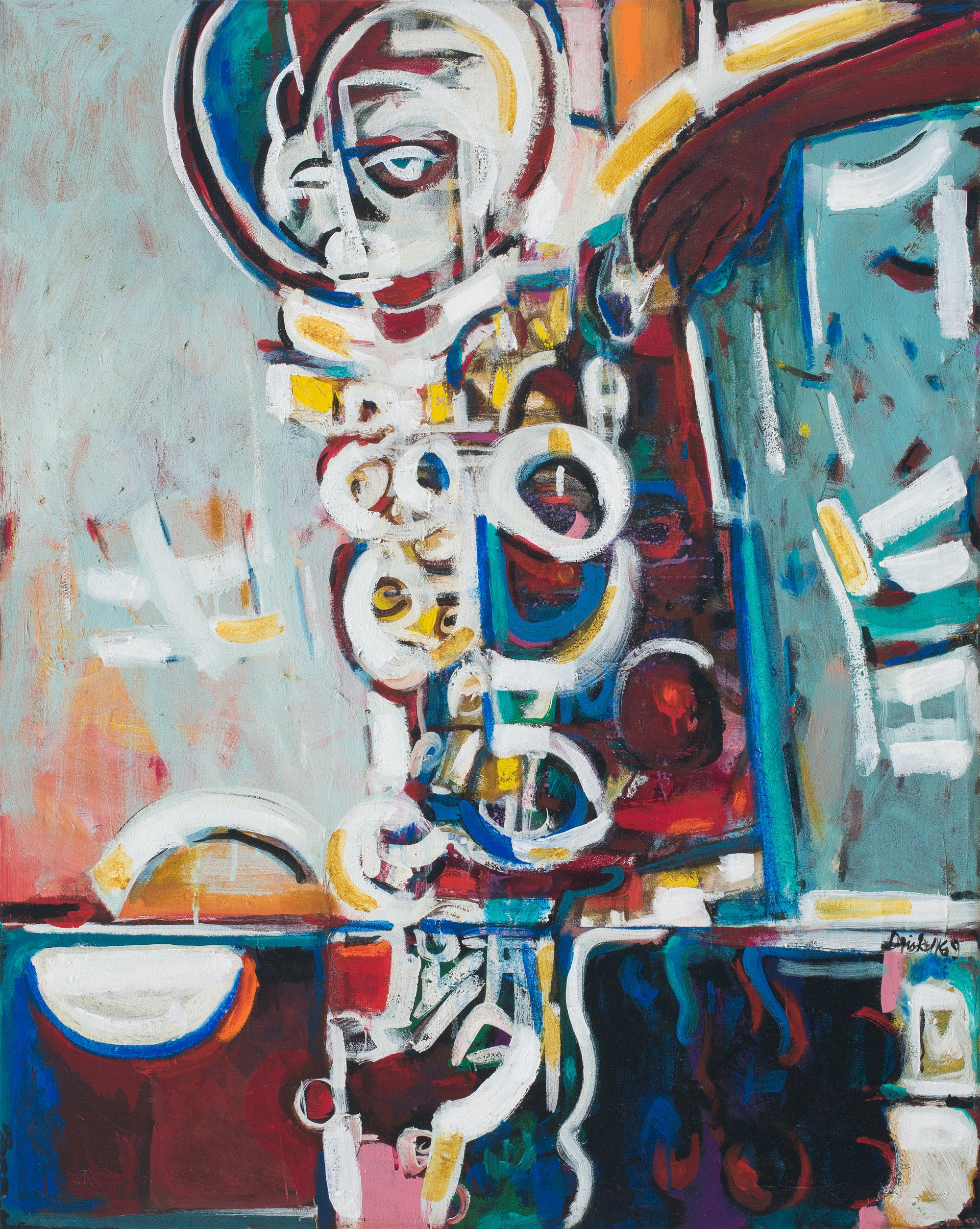 David Driskell, <em>Yoruba Forms #5</em>, 1969. Oil on canvas, 41 1/4 x 34 inches. Courtesy DC Moore, New York.