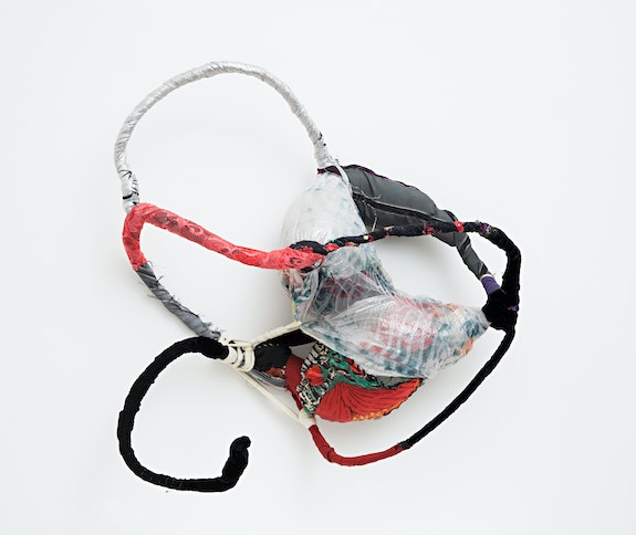 "Sonia Gomes, <em>Untitled</em>, from the ""Patuá"" series, 2005. Stitching, bindings, different fabrics and laces on wire, 19 11/16 x 19 11/16 x 10 5/8 inches. © Sonia Gomes."