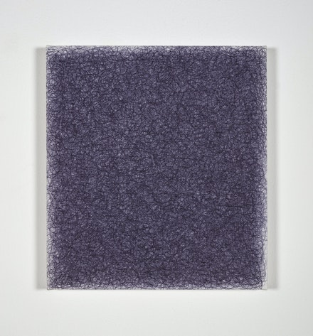 Irma Blank, <i>Ur-schrift ovvero Avant-testo</i>, 1999. Ballpoint pen on canvas, 15 x 13 5/8 inches. Courtesy Luxembourg & Dayan, New York and London.