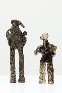 Simone Fattal, <em>Man and his shadow</em>, 2009. Glazed stoneware. 9.8 x 4.3 x 1.6 inches. Courtesy the artist and kaufmann repetto, Milan / New York; Balice Hertling, Paris; Karma International, Zurich / Los Angeles.