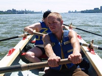 Rowing in the Hudson River during a row around Manhattan. Photo by Nadia Chaudhury.