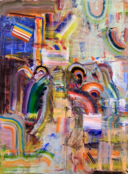 Diana Copperwhite, <em>Chemical Allegro</em>, 2019. Oil on canvas, 94 x 70 inches. Courtesy 532 Gallery Thomas Jaeckel, New York.