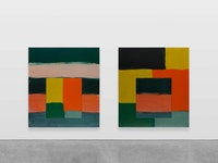 Sean Scully, <em>Vice Versa Green</em>, 2019. Oil on aluminum, two Panels: 85 x 75 inches each. © Sean Scully. Courtesy Lisson Gallery.