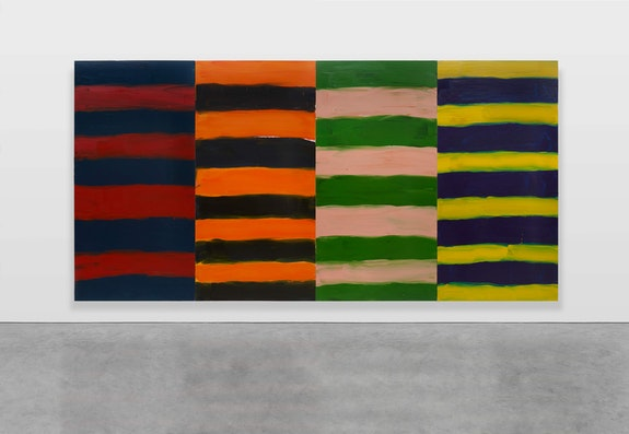 Sean Scully, <em>Shutter</em>, 2019. Oil on aluminum, 110 x 212 1/2 inches. © Sean Scully. Courtesy Lisson Gallery.
