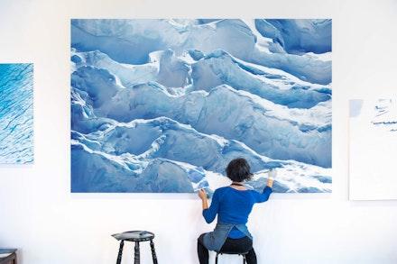 Zaria Forman, (Work in progress) Jakobshavn Glacier, Greenland, 69° 47' 31.092