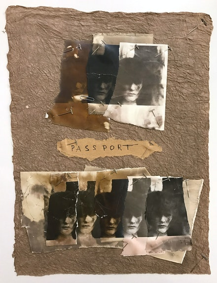 Deborah Turbeville, <em>Passport</em>, 1977. Collage of eight gelatin silver prints mounted on paper, 18 x 13 inches. Courtesy  Deborah Bell Photographs, New York.