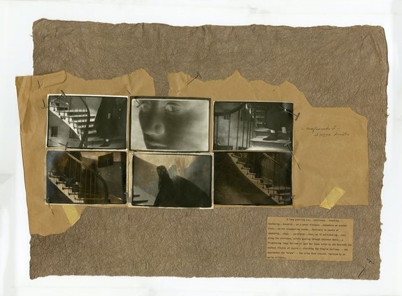 Deborah Turbeville, <em>Comme des Garçons</em>, 1980. Collage of six gelatin silver prints affixed with adhesiveand/or T-pins to Kraft paper mount, 18 3/16 x 25 5/8 inches. Courtesy Deborah Bell Photographs, New York.