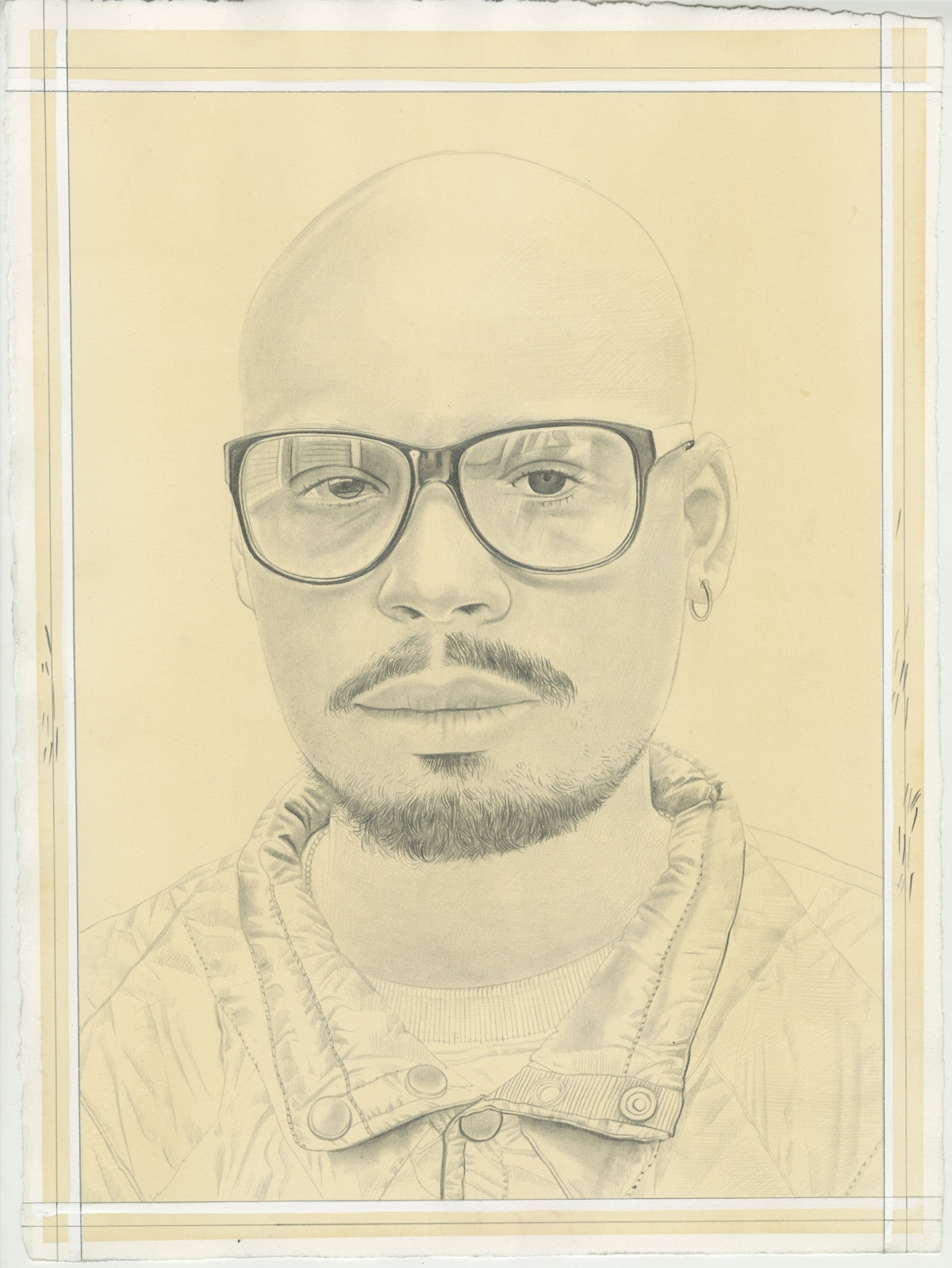 Portrait of Marcus Jahmal, pencil on paper by Phong Bui.