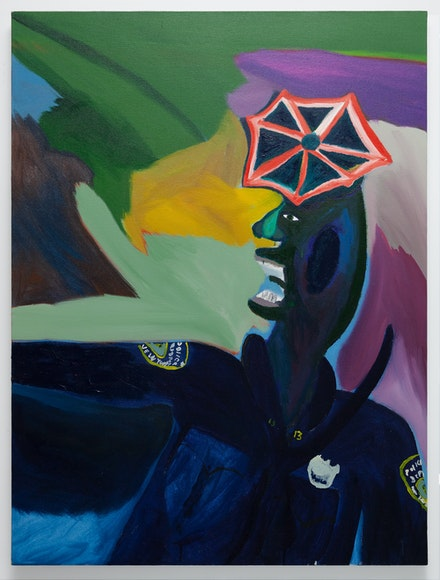 Marcus Jahmal, <em>Black and blue</em>, 2018. Oil and acrylic on canvas, 40 x 30 inches. Courtesy the artist. Photo: Zach Krall.