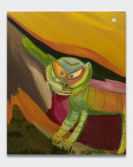Marcus Jahmal, <em>Gato salvaje</em>, 2018. Oil stick and acrylic on canvas, 72 x 60 inches. Courtesy the artist and Almine Rech.