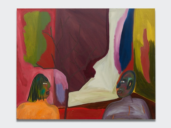 Marcus Jahmal, <en>Confrontation</em>, 2017. Oil stick and acrylic on canvas, 48 x 60 inches. Courtesy the artist and Almine Rech.