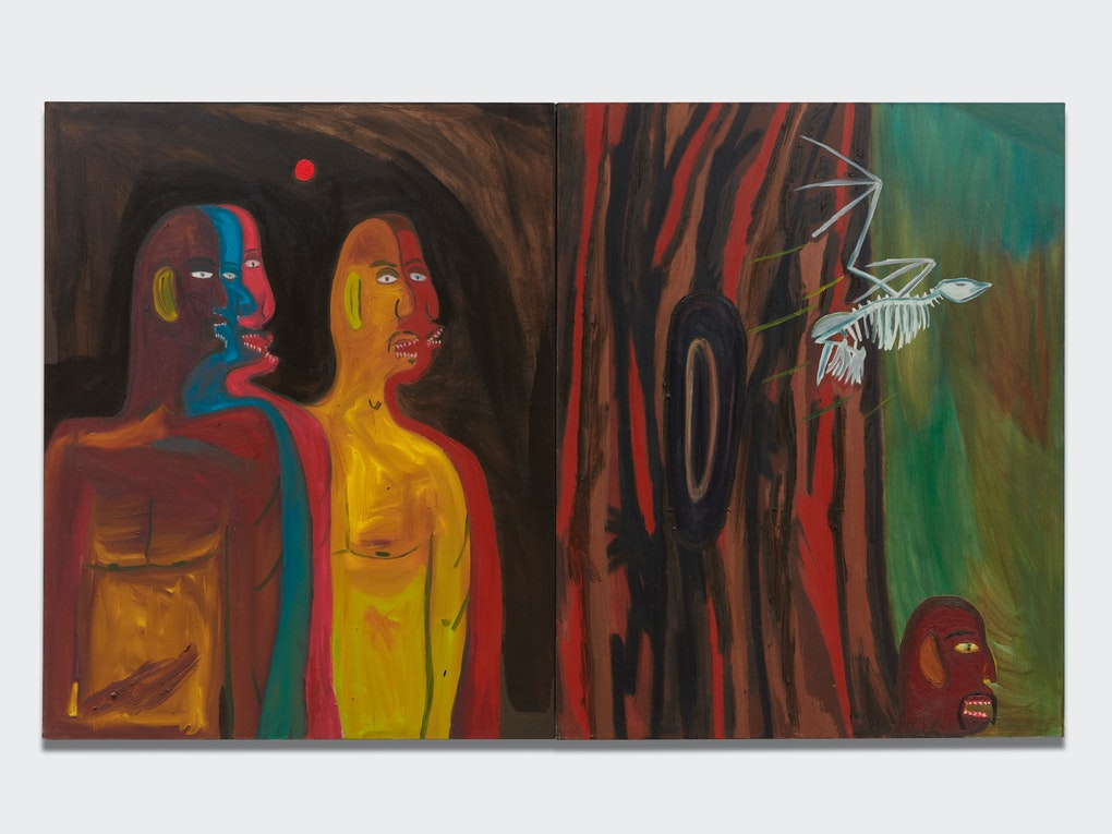 eea5a8a64cbb9 Marcus Jahmal, Reverse Migrate, 2017. Diptych, Oil stick and acrylic on  canvas, 60 x 96 inches. Courtesy the artist and Almine Rech.