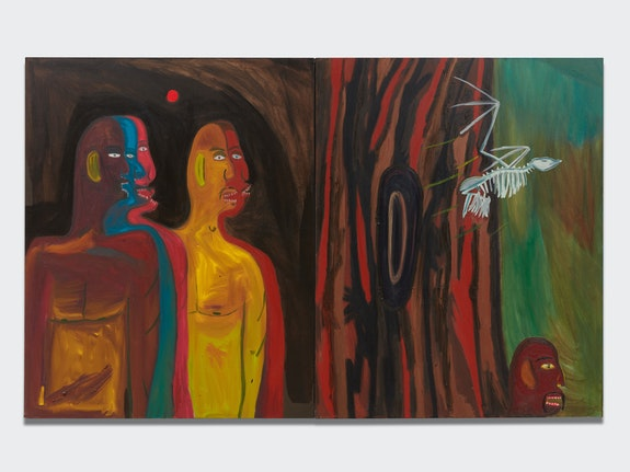 Marcus Jahmal, <em>Reverse Migrate</em>, 2017. Diptych, Oil stick and acrylic on canvas, 60 x 96 inches. Courtesy the artist and Almine Rech.