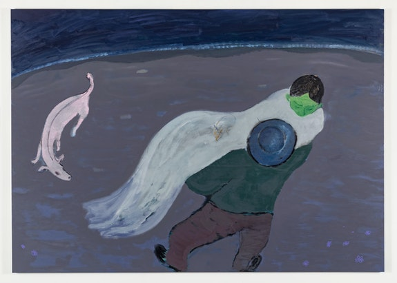 Sanya Kantarovsky, <em>Beach</em>, 2019. Oil and watercolor on canvas, 79 x 111 inches. © Sanya Kantarovsky; Courtesy the artist, Luhring Augustine, New York, and Stuart Shave/Modern Art, London, and Tanya Leighton Gallery, Berlin.