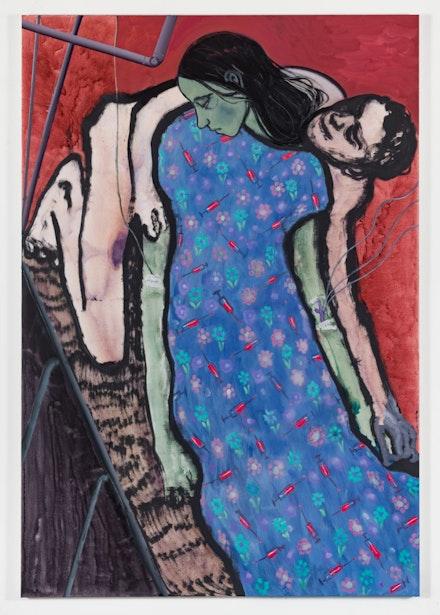 Sanya Kantarovsky, <em>Needles</em>, 2019. Oil and watercolor on canvas, 95 x 65 inches. © Sanya Kantarovsky; Courtesy the artist, Luhring Augustine, New York, and Stuart Shave/Modern Art, London, and Tanya Leighton Gallery, Berlin.