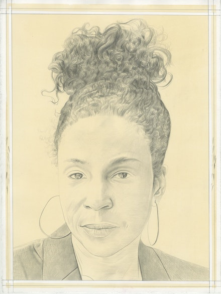 Portrait of Lorna Simpson, pencil on paper by Phong Bui.