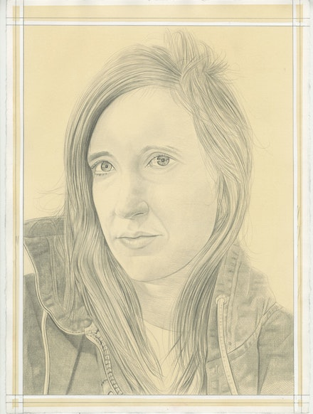 Portrait of Shara Hughes, pencil on paper by Phong Bui.