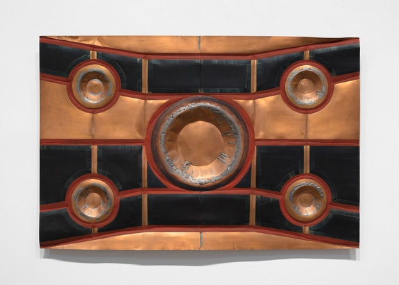 David Novros,<em>Untitled</em>, c. 1995, copper, gold mining pans, lead, oil paint, 48 x 72 in. (121.9 x 182.9 cm) © 2019 David Novros / Artists Rights Society (ARS), New York. Courtesy Paula Cooper Gallery, New York. Photo: Steven Probert. </p>