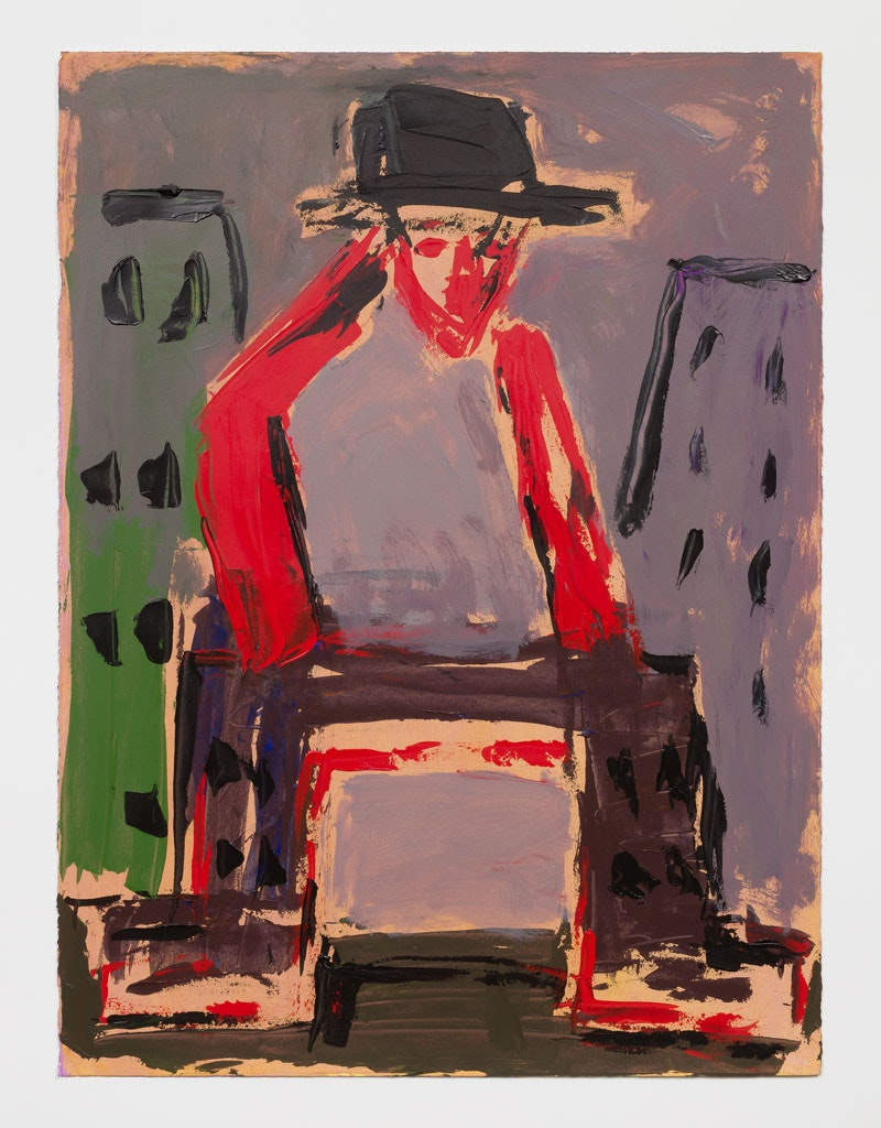 Ansel Krut, <em>Man in the City</em>, 2018, acrylic on paper, 30 x 22 in., 76.2 x 55.9 cm. Photo: Pierre Le Hors. Courtesy Marlborough Gallery.