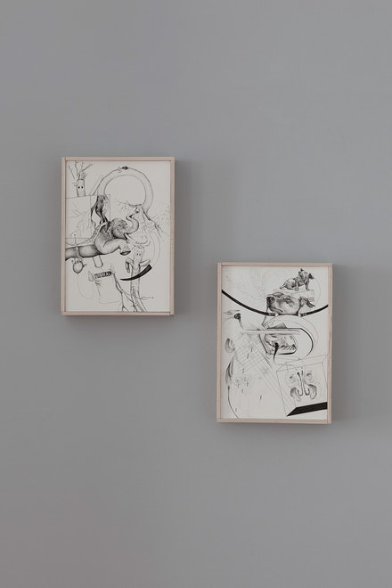 Sarah Grass, Left: <em>Infaltable Man</em>, 2017, Ink on Paper (mounted on Dibond) 10 x 7 inches. Right: <em>Olfactory Vivisection</em>, 2017, Ink on Paper (mounted on Dibond), 12 x 9 inches. Courtesy the artist and Doppelgänger Projects.