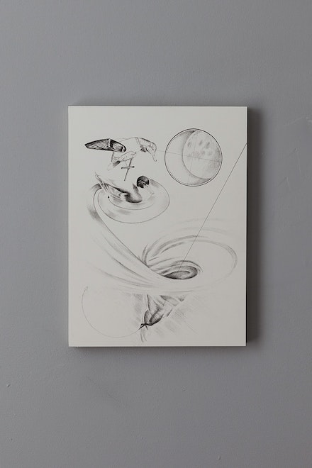 Sarah Grass, <em>No Water No Moon</em>, 2019, Ink on paper (mounted on Dibond), 12 x 9 inches. Courtesy the artist and Doppelgänger Projects.